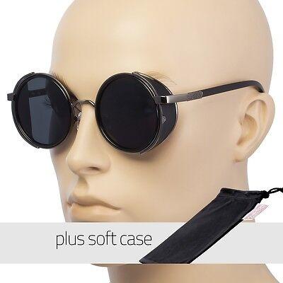 Round Shield Sunglasses - Studio Cover Metal Side Shield Round Fashion Vintage Sunglasses Black FREE POUCH