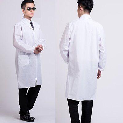 White Doctor's Coat (Mens Womens White Lab Coat Scrub Medical Doctor's Lapel Collar Jacket)