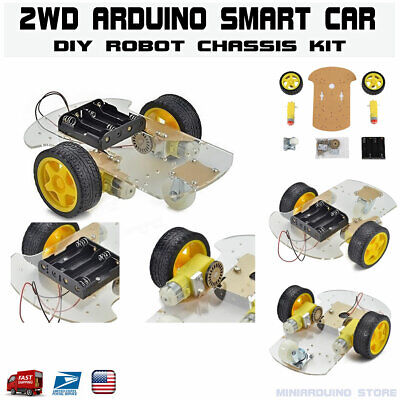 2wd Smart Car Robot Chassis Kit Arduino Mcu With Speed Encoder Tracing Usa