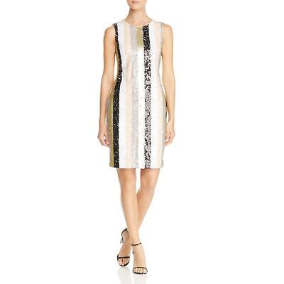 Calvin Klein Womens Sequined Striped Party Sheath Dress BHFO 3650 Jeweled Party Dress