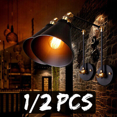 2x Industrial Vintage Adjustable Swing Arm Wall Lamp Light Sconce Fixture Home Black Swing Arm Wall Lamp