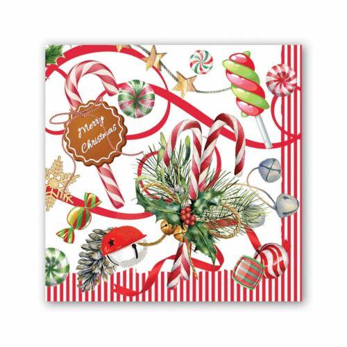 Michel Design Works 20 Triple-Ply Paper Cocktail Napkins Christmas Peppermint