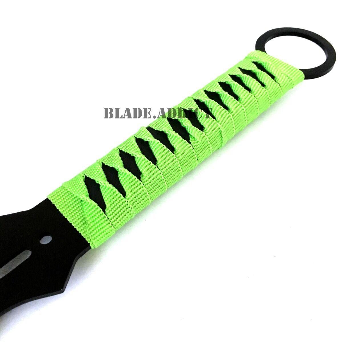 "27"" Ninja Sword Machete Throwing Knife Full Tang Tactical Blade GREEN Katana NEW"
