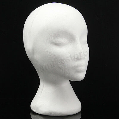 1pc Styrofoam Foam Mannequin Wig Head Display Hat Cap Wig Holder White Foam Head