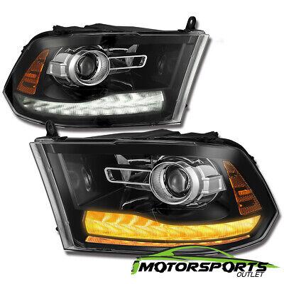 [Polished Black New Ram Style] 2009-2018 Dodge Ram LED DRL Projector Headlights