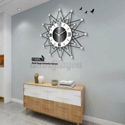 20 Crystal Diamond Large Wall Clock 3D Modern Big Metal Digital Watch Ho