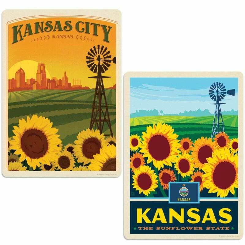 Kansas Sunflower State Sticker Set of 2 Vintage-Style Travel Decals