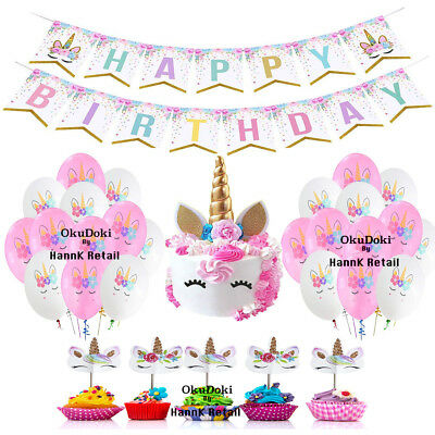 Unicorn Birthday Theme Party Decoration, Cake & Cupcake Topper, Banner, Balloon
