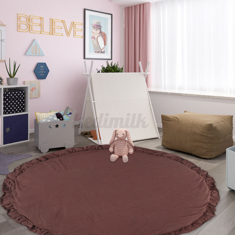 US Baby Kids Round Cotton Floor Rug Game Gym Play Crawling Bedroom Mat