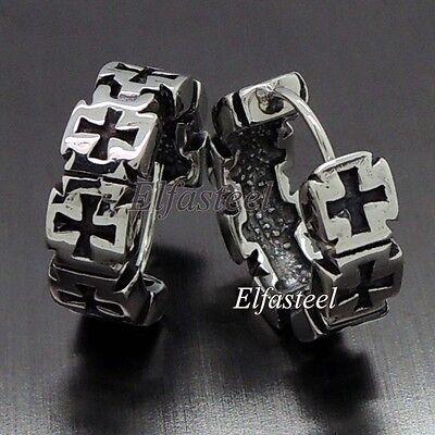 Iron Cross Earrings - Men Biker Iron Cross 316L Stainless Steel Huggie Earrings