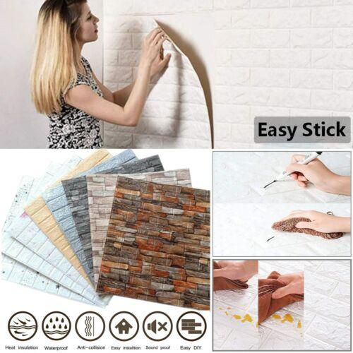 10PCS Large 3D Soft Tile Brick Wall Sticker Self-Adhesive Waterproof Foam Panel Decals, Stickers & Vinyl Art