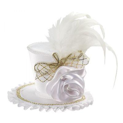 Mini Weiß Viktorianisch Kostüm Top Hut mit / Rose Zum Anklammern Erwachsene