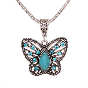 Antique Hollow Tibetan Silver Butterfly Crystal Turquoise Pendant Chain Necklace