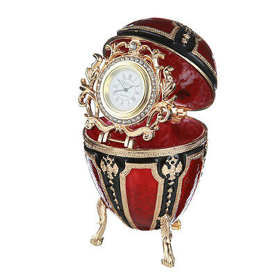 Faberge Egg / Trinket Jewel Box with Russian Coat of Arms & clock 4.3'' red, used for sale  Shipping to United States