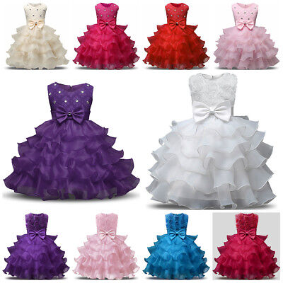 Princess Communion Dresses (Communion Princess Baby Girls Dress Gown Bridesmaid Wedding Party Kids)