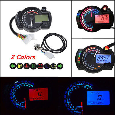Universal 15000rpm LCD Digital Dual Colors Speedometer Tachometer Odometer Gauge