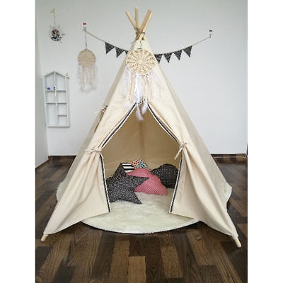 Teepee Tent (Holiday Gift WHITE 6ft Cotton Canvas Deluxe Teepee Playhouse Play Tent For Kids )