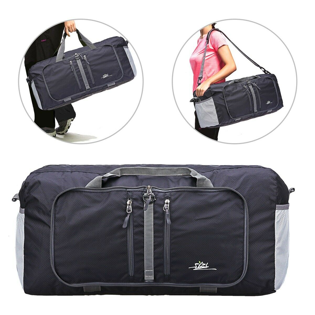 Foldable Duffle Tote Bag 40L for Travel Gym Sports Packable