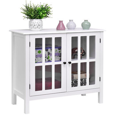 Buffet Server Sideboard -  Storage Buffet Cabinet Glass Door Sideboard Console Table Server Display White