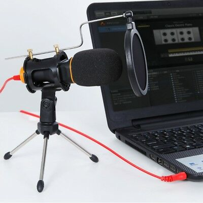 Pro Condenser Microphone Mic 3.5mm USB W/Tripod Stand for PC Game Studio Skype