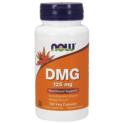 NOW Foods DMG 125 mg 100 Veg Capsules, Nutritional Support, FRESH, Made In USA