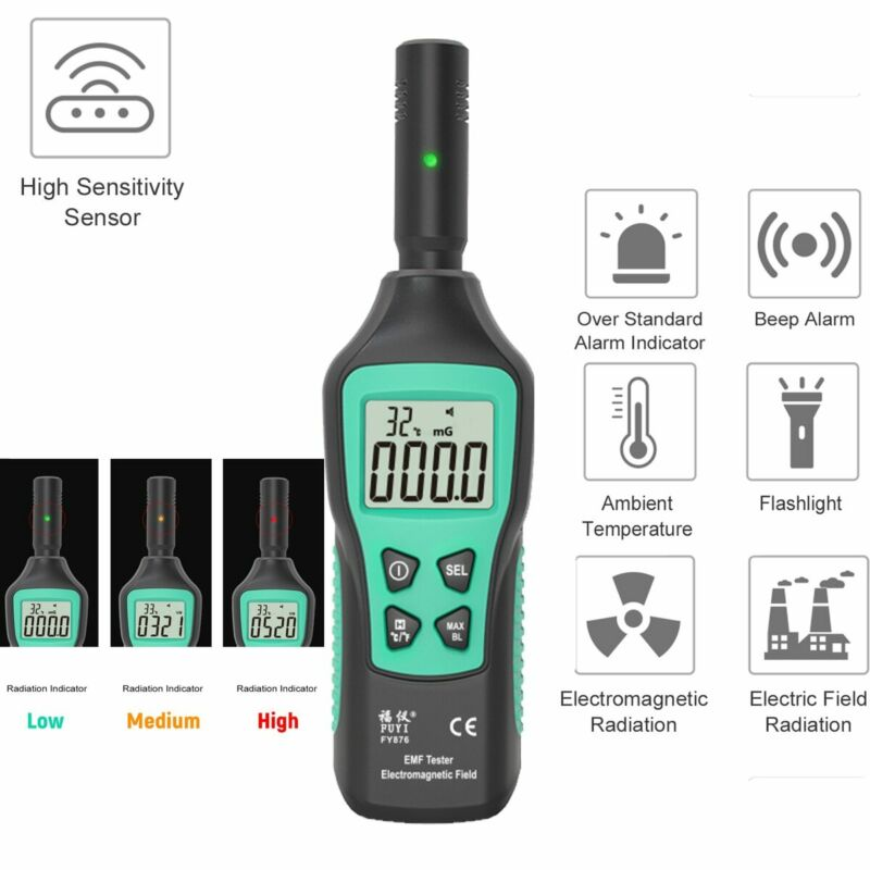 Pro EMF Meter Electromagnetic Field Radiation Detector 5HZ—3500MHz with 3 Levels