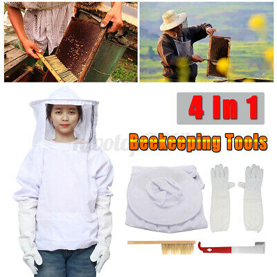 Us 4 In 1 Set Beekeeping Equipment Veil Suit Bee Brushes Gloves Hook Hive Tools