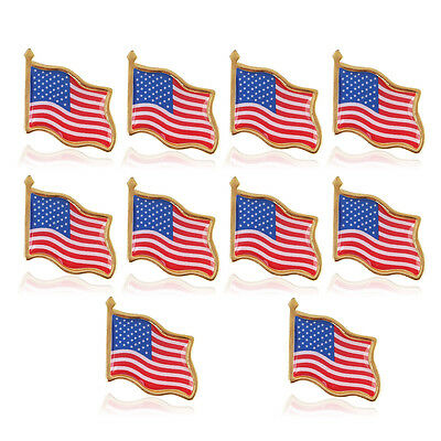 LOT OF 10 American Flag Lapel Pin United States USA Hat Tie Tack Badge Pin - Flag Pin
