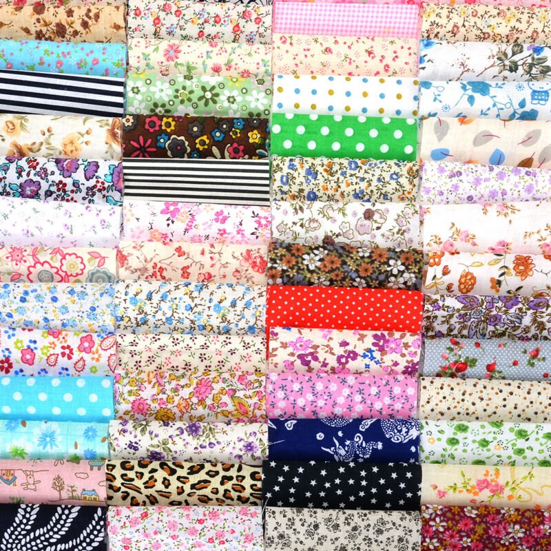 US 60Pcs DIY Square Floral Cotton Fabric Patchwork Cloth For