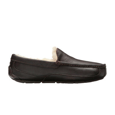 UGG Men's Ascot Slippers Black Leather China Tea Leather SIZE 8-12 (Leather Ascot)