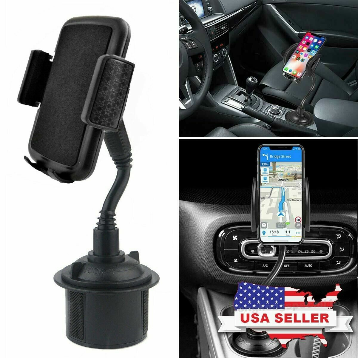 New Universal Car Mount Adjustable Gooseneck Cup Holder Cradle for Cell Phone US Cell Phone Accessories