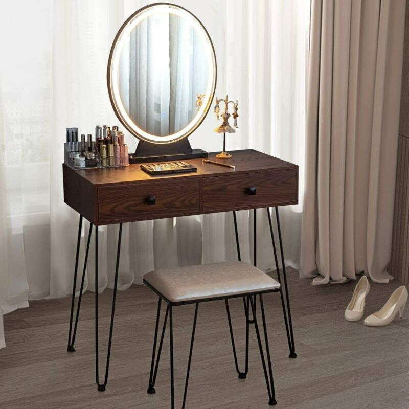 New Makeup Vanity Table Stool Movable Mirror w/ Touch LED Light 2 Drawers Brown