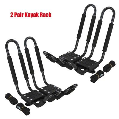 TCMT 2 Pairs Kayak Carrier Rack Boat Ski Surf Roof Mount Car Cross J-Bar Holder