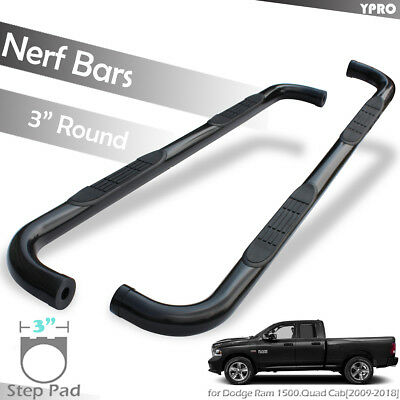 "3"" Black Step Nerf Bars for 2009-2018 Dodge Ram 1500 QUAD CAB Running Boards"