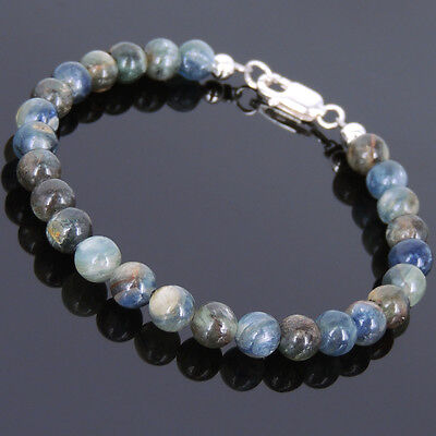 Meditation Gemstone Bracelet 6mm Kyanite 925 Sterling Silver Clasp for Men Women