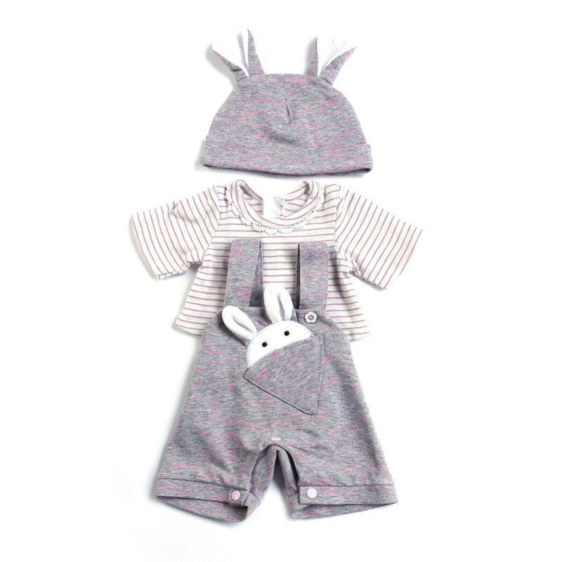 Pocket Rabbit Clothing Set 3 Pieces Doll Clothes Fit for 20 Inch Reborn Dolls