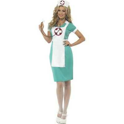 Womens Scrub Nurse Costume Emergency Doctor Dr Fancy Dress Hat Headband Adult