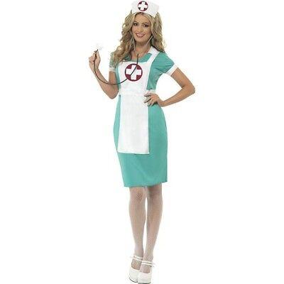 Womens Scrub Nurse Costume Emergency Doctor Dr Fancy Dress Hat Headband Adult