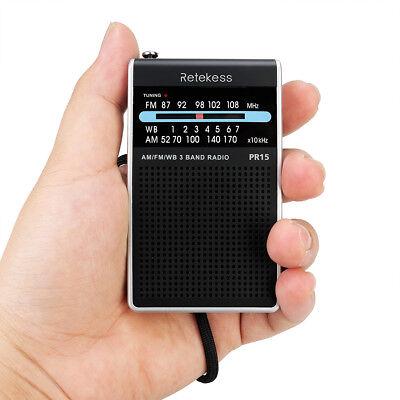 Retekess PR15 Pocket FM/AM/NOAA Pointer Tuning Radios+Weather Warning Silver