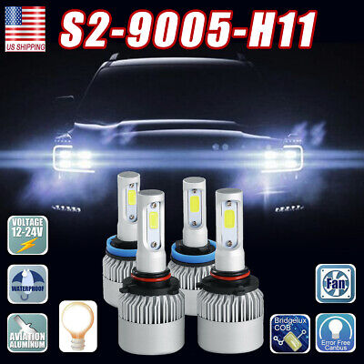 LED Headlight Bulbs Conversion Kit 9005 H11 High Low Beam Bright White