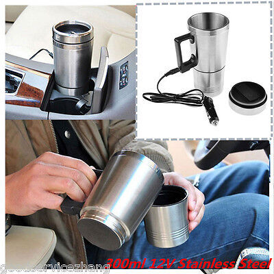12V Stainless Steel Travel Heated Thermos Coffee Mug Cup With Car Charger 300ml Nissan Travel Mug