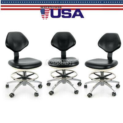 3x Pu Leather Adjustable Dental Stool Dentist Chair Hydraulic Rolling Stools