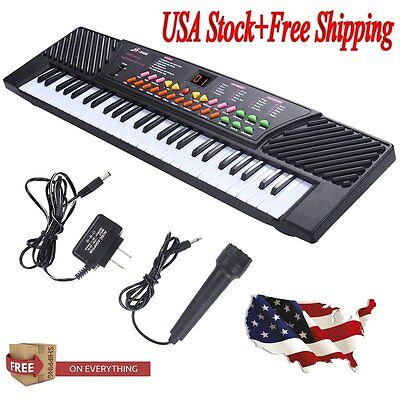54 Keys Music Electronic Keyboard Kid Electric Piano Organ W/Mic & Adapter Good