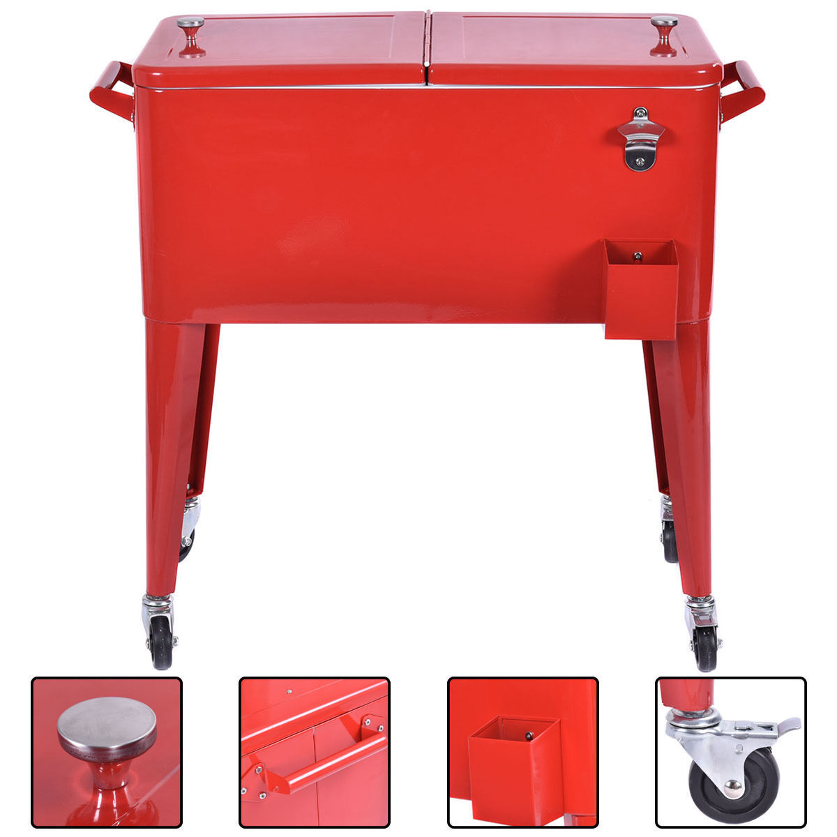 Large Red Outdoor Cooler Cart Ice Drink Beer Chest Party Bot