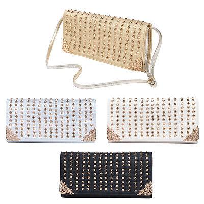 - Premium Large PU Leather Studded Front Flap Clutch Bag Handbag - Diff Colors