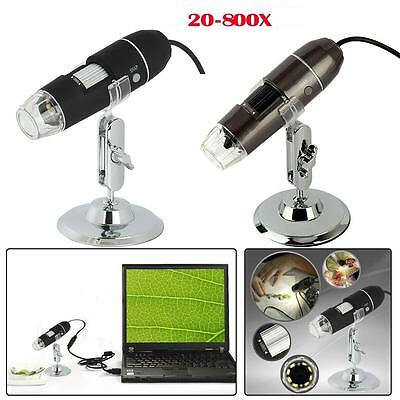 8-led Light 2mp Magnifier Usb Mini Digital Microscope Endoscope Camera 20x-800x