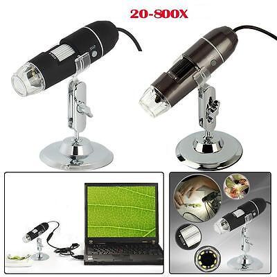 8-led Light 2mp Magnifier Usb Mini Digital Microscope Endoscope Camera 20x-800x