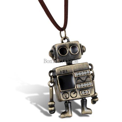 Samtseil Kette mit Strass Niedlichem Alien Roboter Anhänger Pullover Halskette