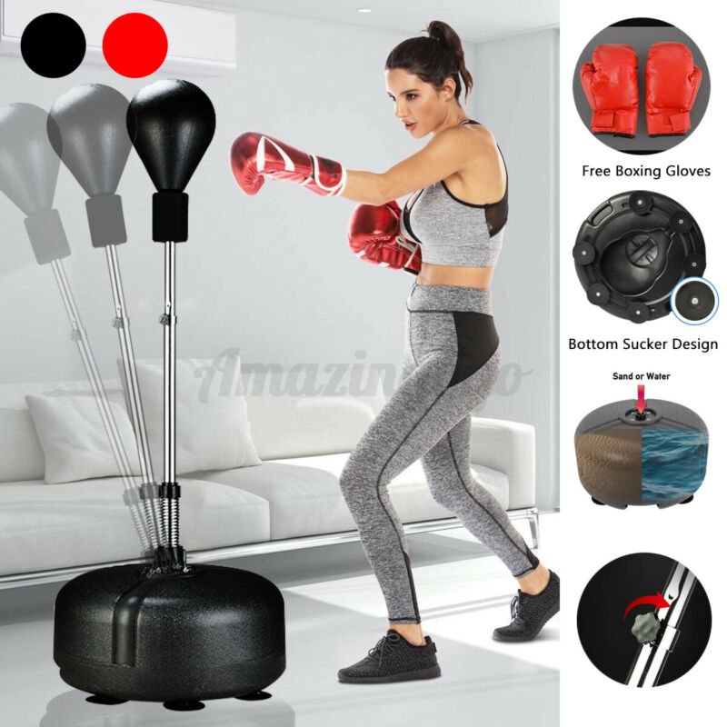 Adjustable Punching Bags Ball Boxing Bag Standing Training Gym & Gloves Gift