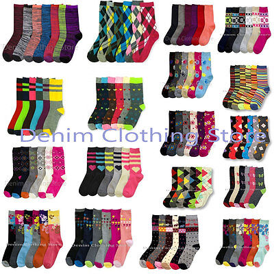 6~12pairs Women Crew Winter Argyle Stripe Spandex Socks Girl Wholesale Lot - Women Wholesale
